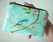 Bird Zipper Pouch  Little Coin Purse Gadget Case - LIMITED - Lovely Aqua  Bird on Blossoms (Padded)