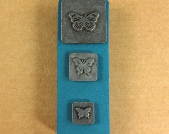Butterflies Ornamental Stamps by Melody Ross / Set of 3 / Use On Chipboard And Leather