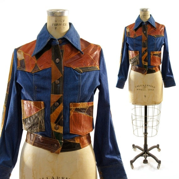 70s Patchwork Leather Denim Jacket