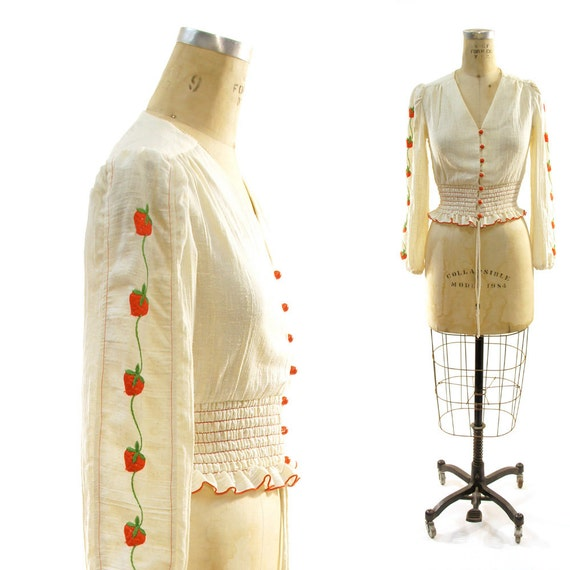 60s Strawberry Embroidered Indian Cotton Gauze Peasant Blouse with Smocked Waist