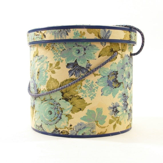 60s Sewing Box / Hat Box / Quilted Floral Cotton
