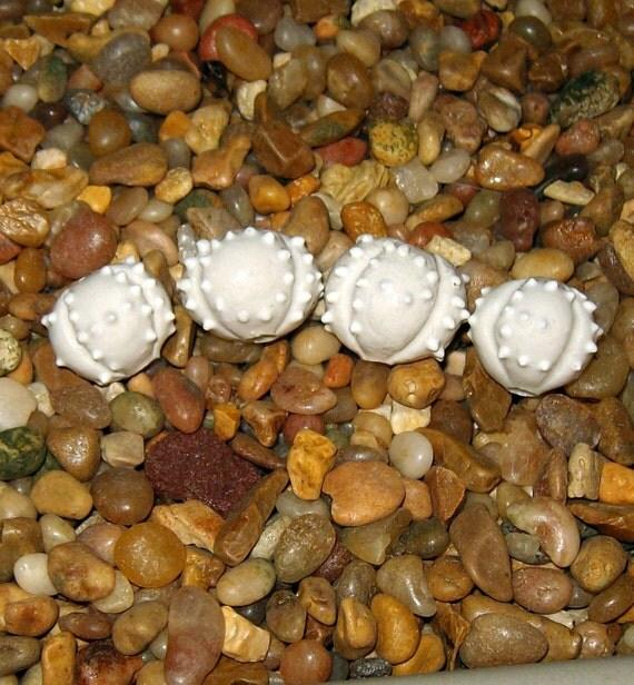 one inspirational HOPE bead - one handmade ceramic sea urchin shape for bracelet or necklace