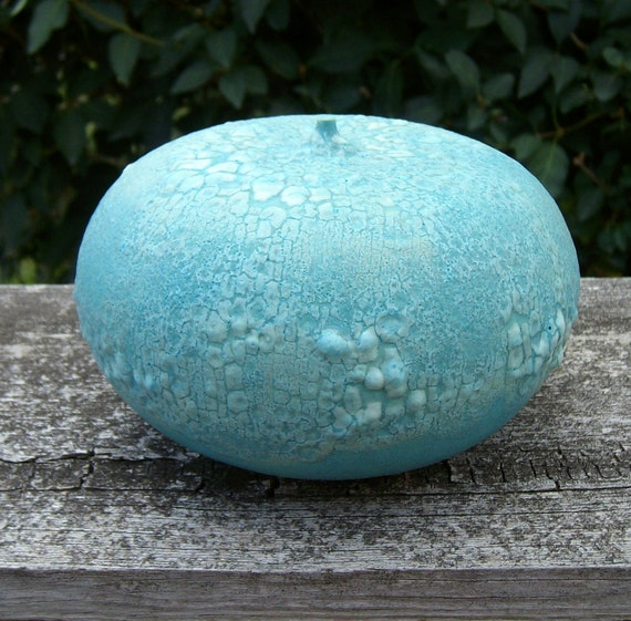 large earthy turquoise blue orb weed pot vase with narrow neck - textural crawl glaze retro style