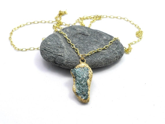 Fuschite Pendant Necklace, Raw Stone Pendant, Gold Dipped