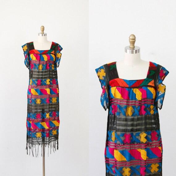 Black & Multi Color Crocheted Openwork Vintage Dress