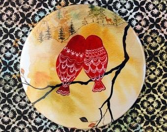 Look Deer - Pocket Mirror Red Russian matryoshka Love Birds owls woman purse accessory bag watercolor art painting Canada Oladesign