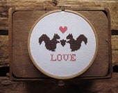 squirrelly love cross-stitch kit (includes pattern and materials)