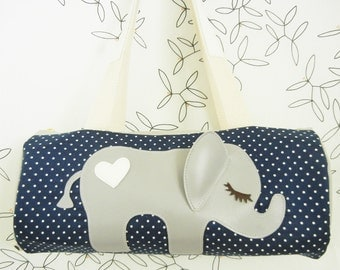 Peanut the Elephant Navy and White Polka Dot Cotton Canvas Duffel Tote Bag Purse with Vinyl Applique