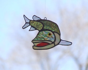 Father's Day Gift - Stained Glass Northern Pike - Iridescent Northern Pike - Fishing Gift
