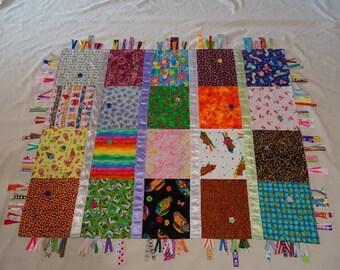 Ultimate I spy quilt sensory ribbon tag blanket children's quilt,  OOAK I spy blanket, unique sensory childs blanket, ribbon tag blanket RTS