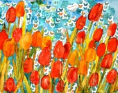 Tulip spring floral Painting | Watercolor Art PRINT with mixed media collage | Red & coral orange  turquoise blue | spring floral print