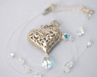 With ALL My HEART Sterling Silver And Swarovski ILLUSION Necklace (Ready to Ship)