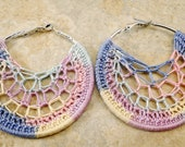 Variegated Multicolor Crochet Earrings, Lacy and Lightweight,  Ready to Ship