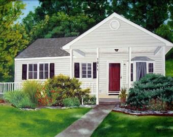 Original Hand Painted Custom House Home Painting 11x14 Fine Art Wall Art Artist Barn Farm Plantation