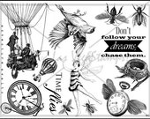 rubber stamp unmounted plate steampunk watch fairy bird fly air balloon   tateam EUC team   no.893