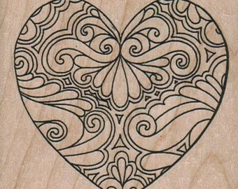 Valentine Tangled heart  retro  wood mounted rubber stamp   number 11137