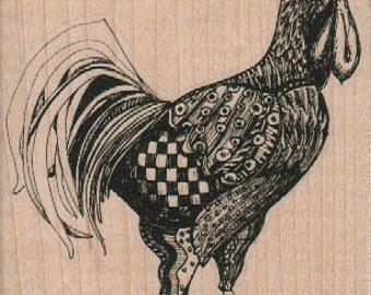 Rubber  stamp large rooster   wood mounted, unmounted, cling stamp steampunk zentangle  no 18891