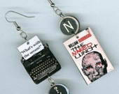 Book Cover Earrings - Naked Lunch William Burroughs quote - Typewriter key jewelry - Banned Books Week  -  author's literary reader's gift