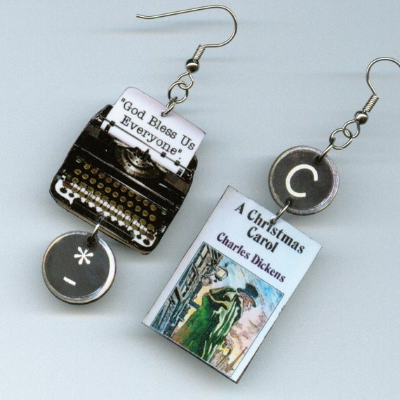 book cover earrings a carol charles dickens quote