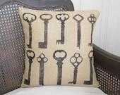 Keys - Burlap  Pillow - Feed Sack Chic - Skeleton Key Pillow - Key Burlap Pillow - Skeleton Key Decor