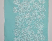 White on Azure Scruffy Daisy screen printed fabric