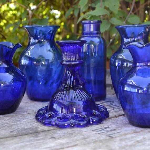 6 Vintage Cobalt  Blue Vases and Candle Holder