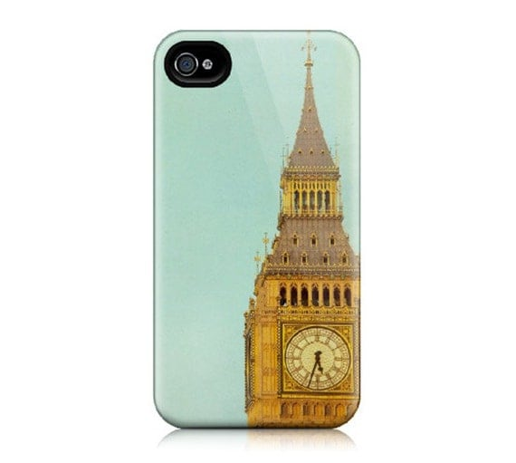 iPhone Case for iPhone 4 and 4S - Big Ben, London Photograph, Blue, Clock, Architecture, Gold, Orange - Time Will Tell