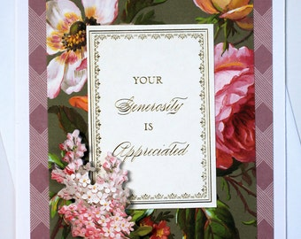 Handcrafted Thank You Card - Elegant 3D Floral Thank You Card, 3D Card, Floral Card, Blank Card, Handmade Thank You Greeting Card