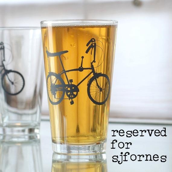 RESERVED for sjfornes - 25 wheelie bike pint glasses, 13 charcoal, 12 turquoise