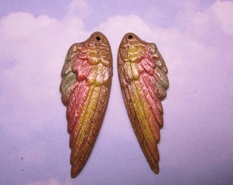 Angel Wings Original Iridized Taupe Brown/Light Lime/Coral/ MEDIUM Size by Charms4Design on Etsy 2367m