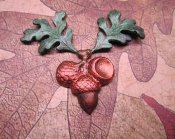 Oak Leaf Cluster Copper Acorn Iridized Stamping on Etsy x 1