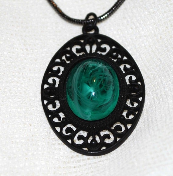 Necromancer Necklace with Green Orb