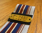 Striped Guitar Strap with Vintage Brass Plate