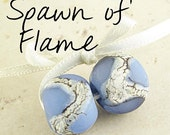 Blue Glass Bead Handmade Lampwork Pair 14x11mm Frosted Etched Glacier Velvet