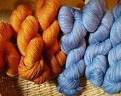 FREE SHIPPING Merino Tencel DK Kettle Dyed Yarn - Pumpkin Orange
