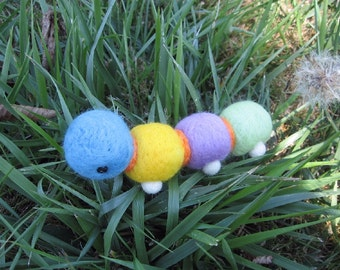 Needle Felted Rainbow Caterpillar Bug