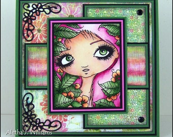 Wonder Nymph Handmade OOAK Fantasy Big Eye Art Greeting Art Card