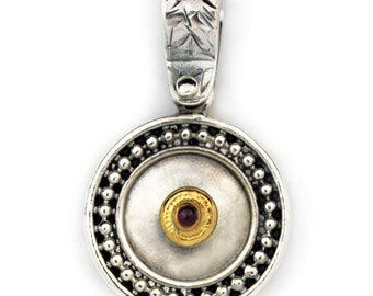 Byzantine-Medieval Round Pendant - Sterling Silver, Gold Plated Silver & Zircon