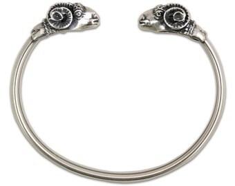 Ram's Head - Sterling Silver Cuff Bracelet