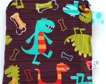 Made to Order: X Small 6.5 x 6.5 Wet bag / Reusable Snack Bag / Toys / Electronics / Michael Miller Dino Dudes Fabric / SEALED SEAMS