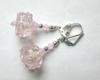 Barely Pink Earrings Lampwork Earrings Flower Earrings