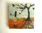 Gathering Blackbirds, Halloween autumn fall leaves, Original Fabric on Wood art block