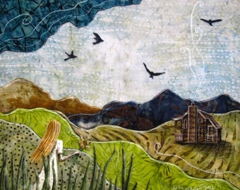 Almost Home, rustic black birds, mountain cabin, woodland dreamer wild, 8.5 x 11 Archival Reproduction Print