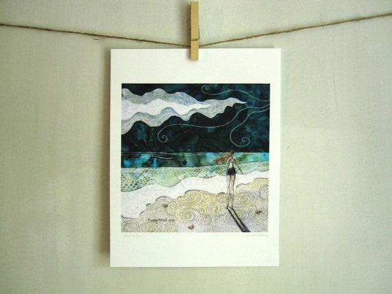 Lost at Sea, ocean beach summer mint, archival reproduction print 8.5 x 11