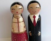 Hand Painted Love Boxes Custom Wedding South Asian Bride Groom Cake Topper Peg Doll Wood