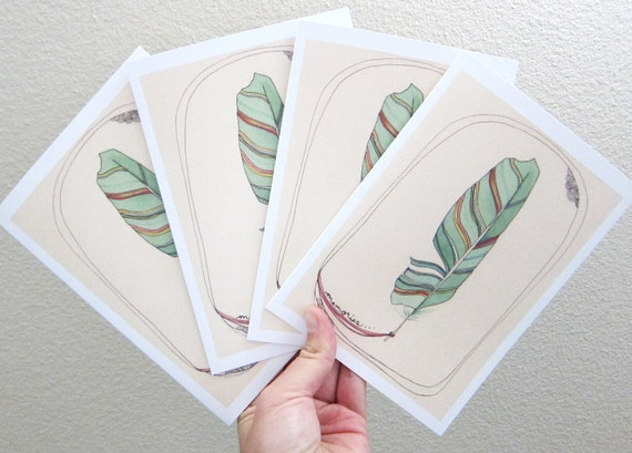 Set of Four Blank Feather Cards