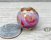Julie Nordine . Large Hole European Style Handmade Art Glass Bead 30 . Sterling Lined . Copper . Lampwork . SRA