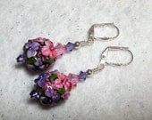 Tanzanite Rose Earrings Lampwork Earrings Purple Pink Swarovski Crystal Leverback Hooks Silver Wire Wrapped Flower Earrings Garden