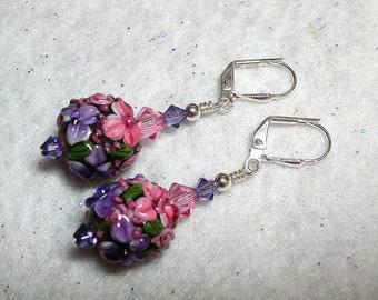 Tanzanite Rose Earrings Lampwork Earrings Purple Pink Swarovski Crystal Leverback Hooks Silver Wire Wrapped Flower Earrings Garden