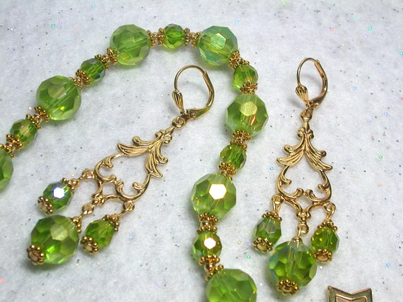 Peridot Hand Cut Crystal Bracelet and Peridot Earrings